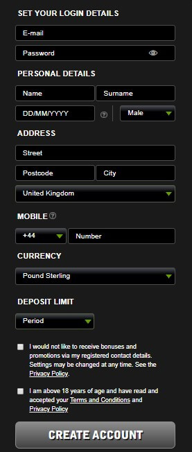 Register new account at Betsafe