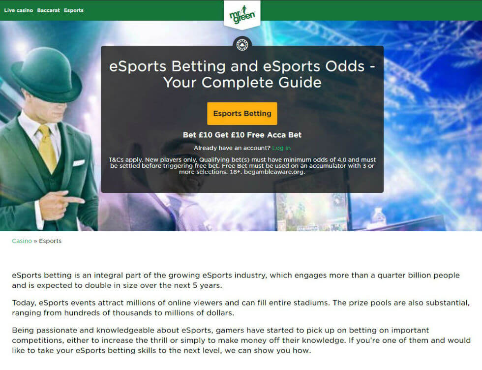 Mr Green eSports Betting Review | Available Markets and Bonuses