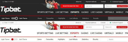 Available dark and light theme of the bookie's website