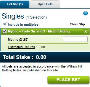 Bet slip at William Hill